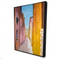 Framed 36 x 48 - 3D - Colorful houses in the streets of collioure