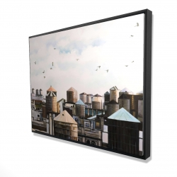 Framed 36 x 48 - 3D - Water towers with birds