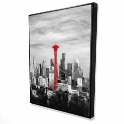 Framed 36 x 48 - 3D - Space needle in red
