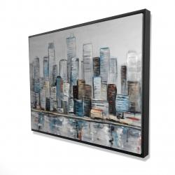 Framed 36 x 48 - 3D - Abstract urban skyline