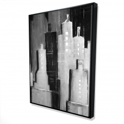 Framed 36 x 48 - 3D - Abstract black and white cityscape