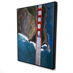 Framed 36 x 48 - 3D - Overhead view of the golden gate and mountains