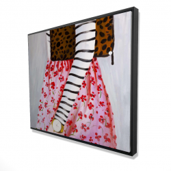 Framed 48 x 60 - 3D - Fashionable woman with a leopard bag