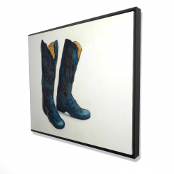Framed 48 x 60 - 3D - Leather cowboy boots