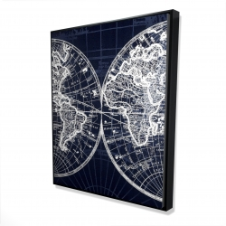 Framed 48 x 60 - 3D - World map blue print