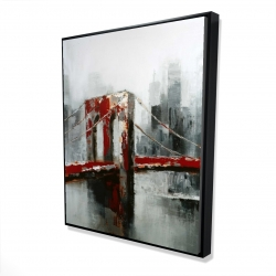 Framed 48 x 60 - 3D - Abstract and red brooklyn bridge