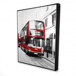 Framed 48 x 60 - 3D - Red bus in a gray street