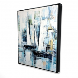 Framed 48 x 60 - 3D - Industrial style boats