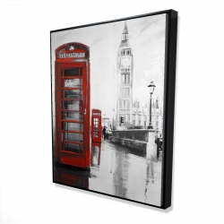 Framed 48 x 60 - 3D - Red phonebooth with the big ben