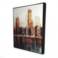 Framed 48 x 60 - 3D - Abstract red cityscape