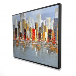 Framed 48 x 60 - 3D - Colorful buildings with water reflection