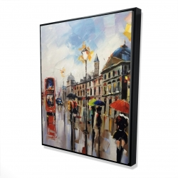 Framed 48 x 60 - 3D - Colorful street with red bus