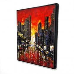 Framed 48 x 60 - 3D - Abstract sunset on the city