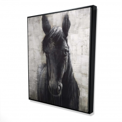 Framed 48 x 60 - 3D - Black horse