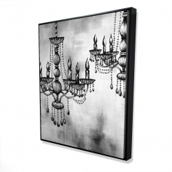 Framed 48 x 60 - 3D - Two crystal chandeliers 2