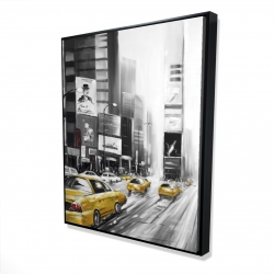 Framed 48 x 60 - 3D - Times square and yellow taxis