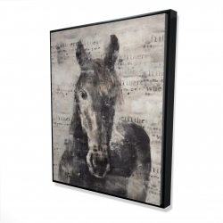 Framed 48 x 60 - 3D - Abstract horse with typography