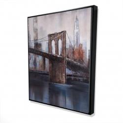 Framed 48 x 60 - 3D - Brown and blue brooklyn bridge