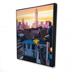 Framed 48 x 60 - 3D - Sunset over the subway in new-york