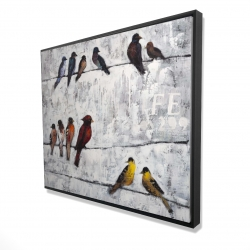 Framed 48 x 60 - 3D - Colorful birds on branches