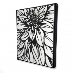 Framed 48 x 60 - 3D - Dahlia flower outline style