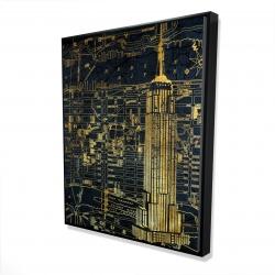 Framed 48 x 60 - 3D - Gold city blue print