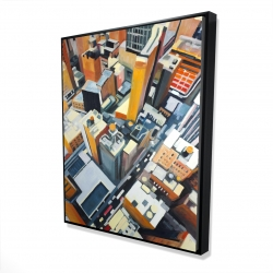 Framed 48 x 60 - 3D - High top view of buildings in new york
