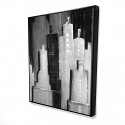 Framed 48 x 60 - 3D - Abstract black and white cityscape