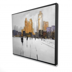Framed 48 x 60 - 3D - Silhouettes walking towards the city