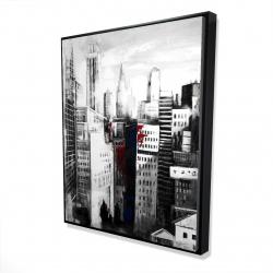 Framed 48 x 60 - 3D - White city with paint splash
