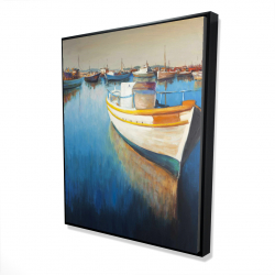 Framed 48 x 60 - 3D - Fishing boats at the marina