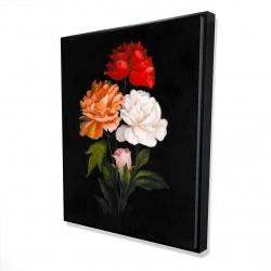 Framed 48 x 60 - 3D - Three beautiful rose flowers