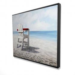 Framed 48 x 60 - 3D - White beach chair