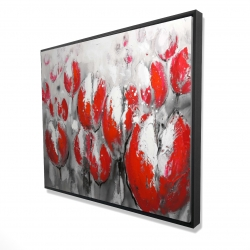 Framed 48 x 60 - 3D - Abstract red tulips