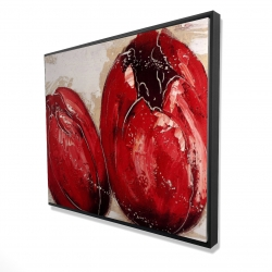 Framed 48 x 60 - 3D - Two red tulips