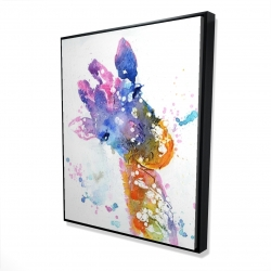 Framed 48 x 60 - 3D - Abstract giraffe with color splash