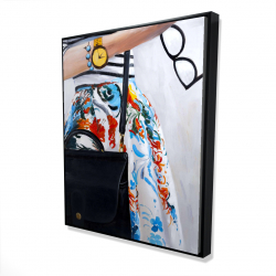 Framed 48 x 60 - 3D - Fashionable woman with glasses