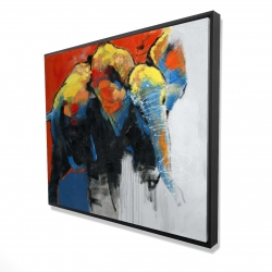Framed 48 x 60 - 3D - Colorful abstract moving elephant