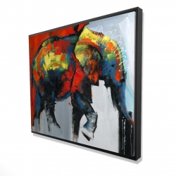 Framed 48 x 60 - 3D - Abstract and colorful elephant in motion