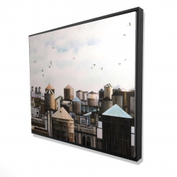 Framed 48 x 60 - 3D - Water towers with birds