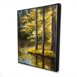 Framed 48 x 60 - 3D - Fall landscape by the water