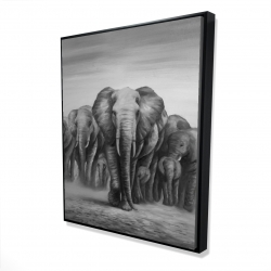 Framed 48 x 60 - 3D - Herd of elephants