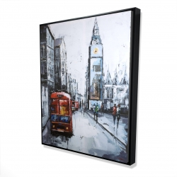Framed 48 x 60 - 3D - Abstract london and red bus