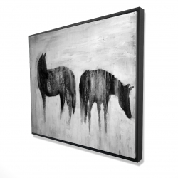 Framed 48 x 60 - 3D - Horses silhouettes in the mist