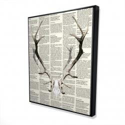 Framed 48 x 60 - 3D - Deer horns on newspaper