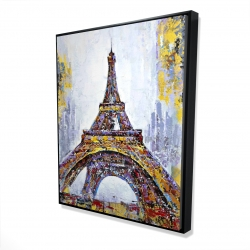 Framed 48 x 60 - 3D - Abstract paint splash eiffel tower