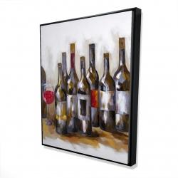 Framed 48 x 60 - 3D - Red wine bottles