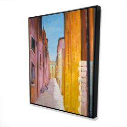 Framed 48 x 60 - 3D - Colorful houses in the streets of collioure
