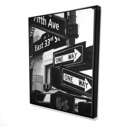 Framed 48 x 60 - 3D - New york city signs in front of an appartment