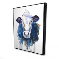 Framed 48 x 60 - 3D - Watercolor cow